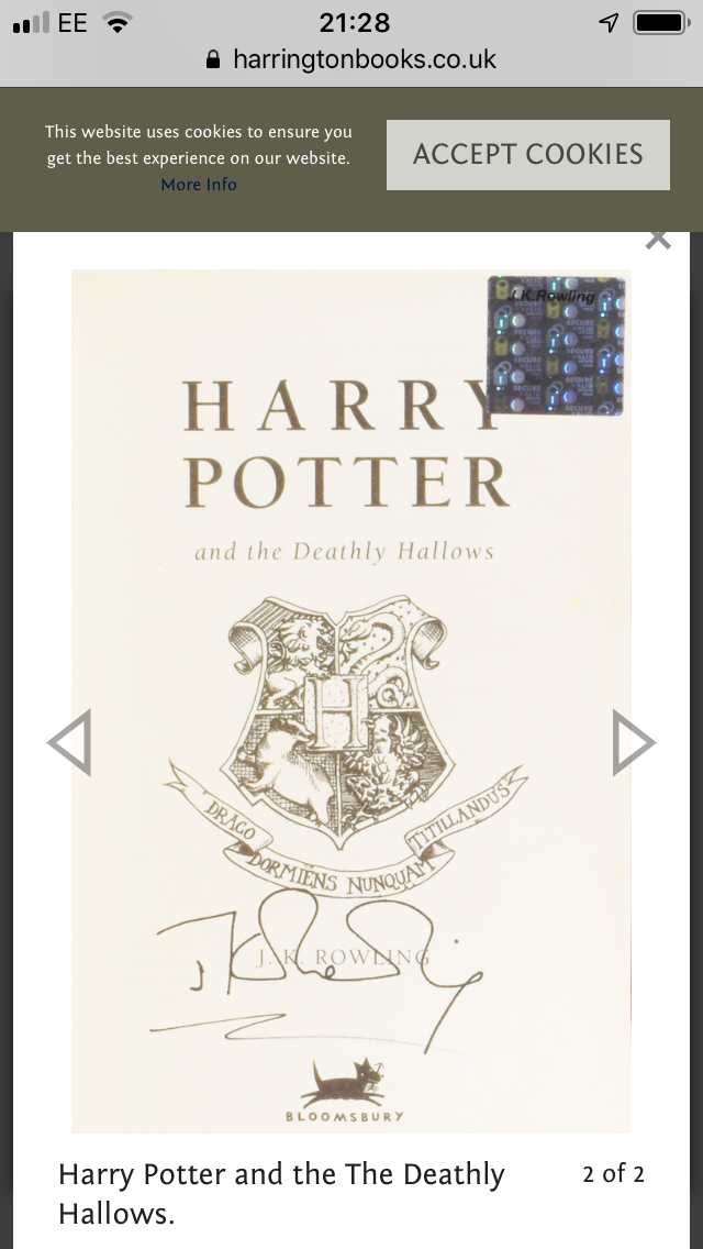JK Rowling Forgery with an authentic Hologram inside of a Bloomsbury Harry Potter and the Deathly Hallows sold by Adrian Harrington
