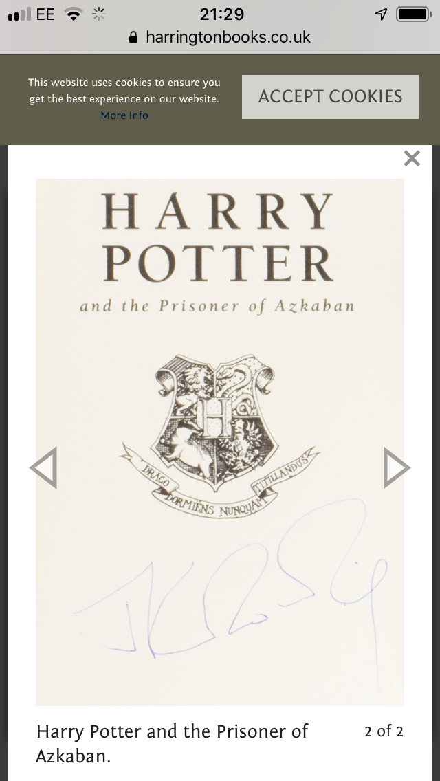 JK Rowling Forgery with an authentic Hologram inside of a Harry Potter and the Prisoner of Azkaban sold by Adrian Harrington