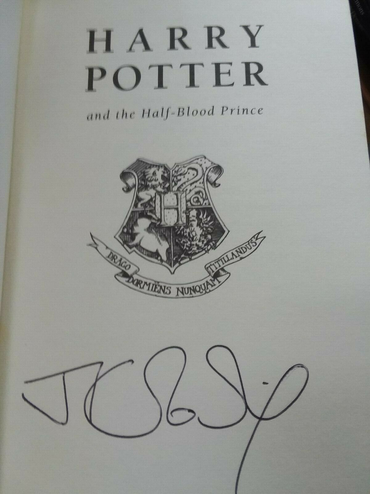 JK Rowling forgery inside a UK Harry Potter and the Half-Blood Prince
