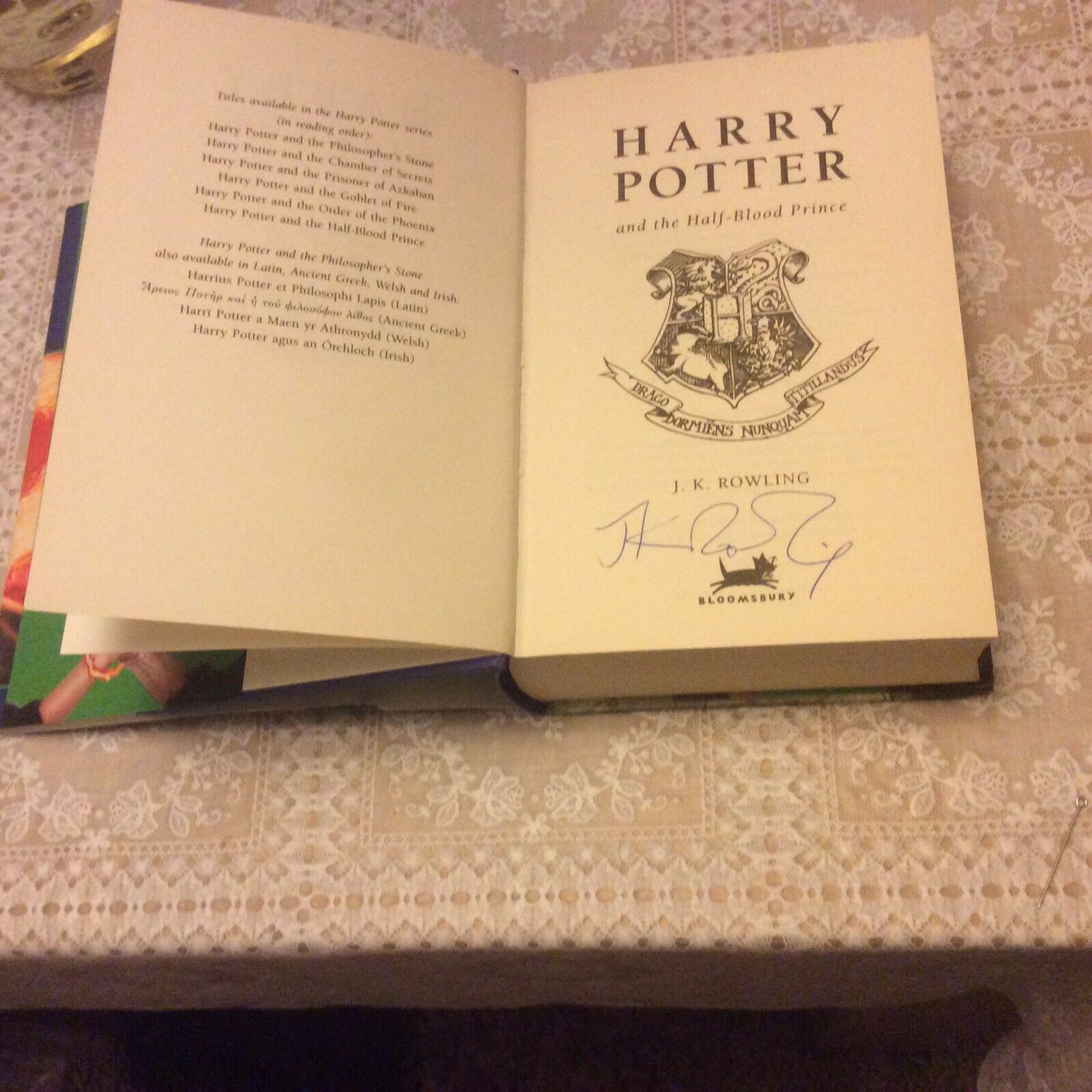 JK Rowling Forgery inside of a Harry Potter and the Half-Blood Prince