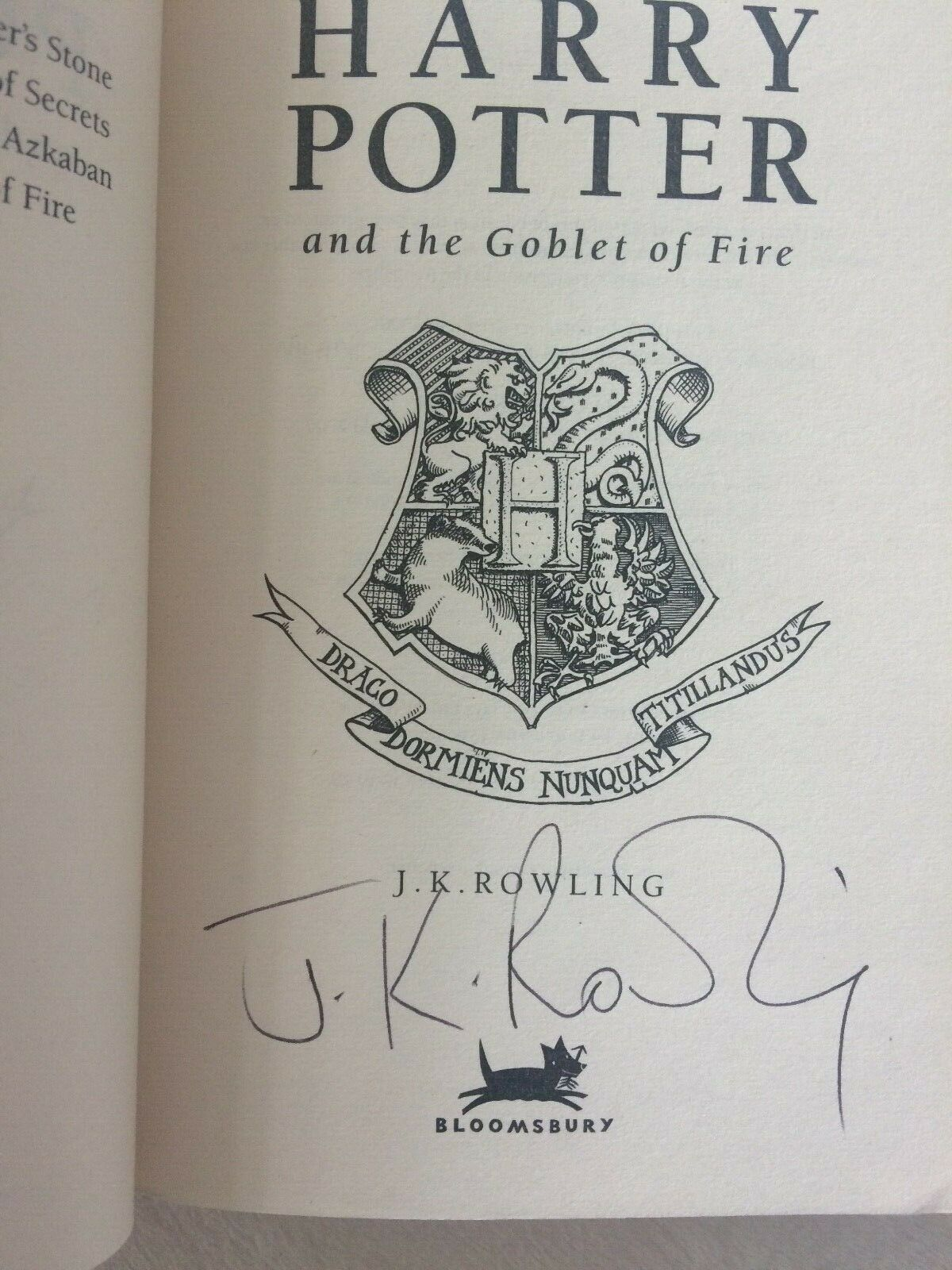 J.K. Rowling Forgery found inside a Bloomsbury UK Softcover Harry Potter and the Goblet of Fire