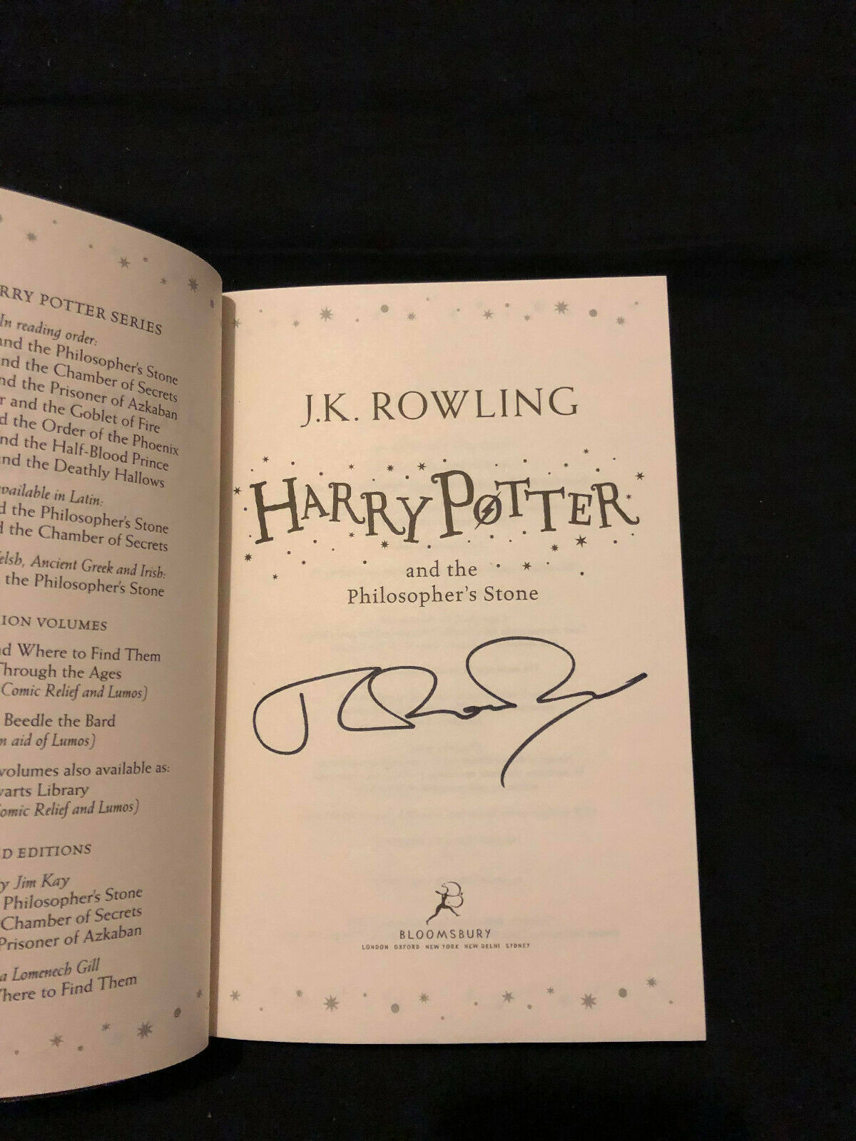 J.K. Rowling Forgery found on eBay inside a later edition Harry Potter and the Philosopher's Stone.