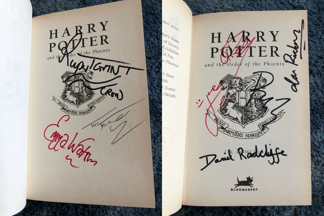 Harry Potter Cast Member signature forgeries found inside of a UK Bloomsbury Harry Potter and the Order of the Phoenix on eBay.