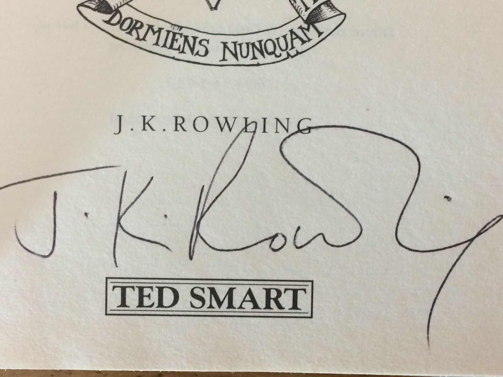 J.K. Rowling Forgery found inside a UK Ted Smart Harry Potter and the Chamber of Secrets on eBay. Sold by Quartermain-75