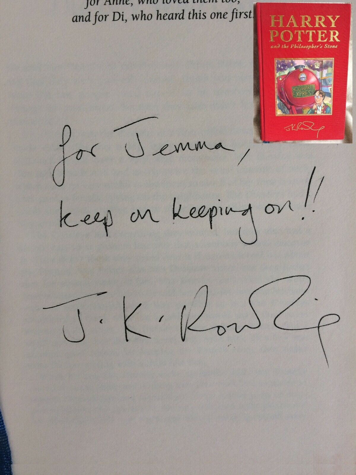 J.K. Rowling forgery found on ebay UK inside a Harry Potter and the Philosopher's Stone. Sold by Quartermain-75