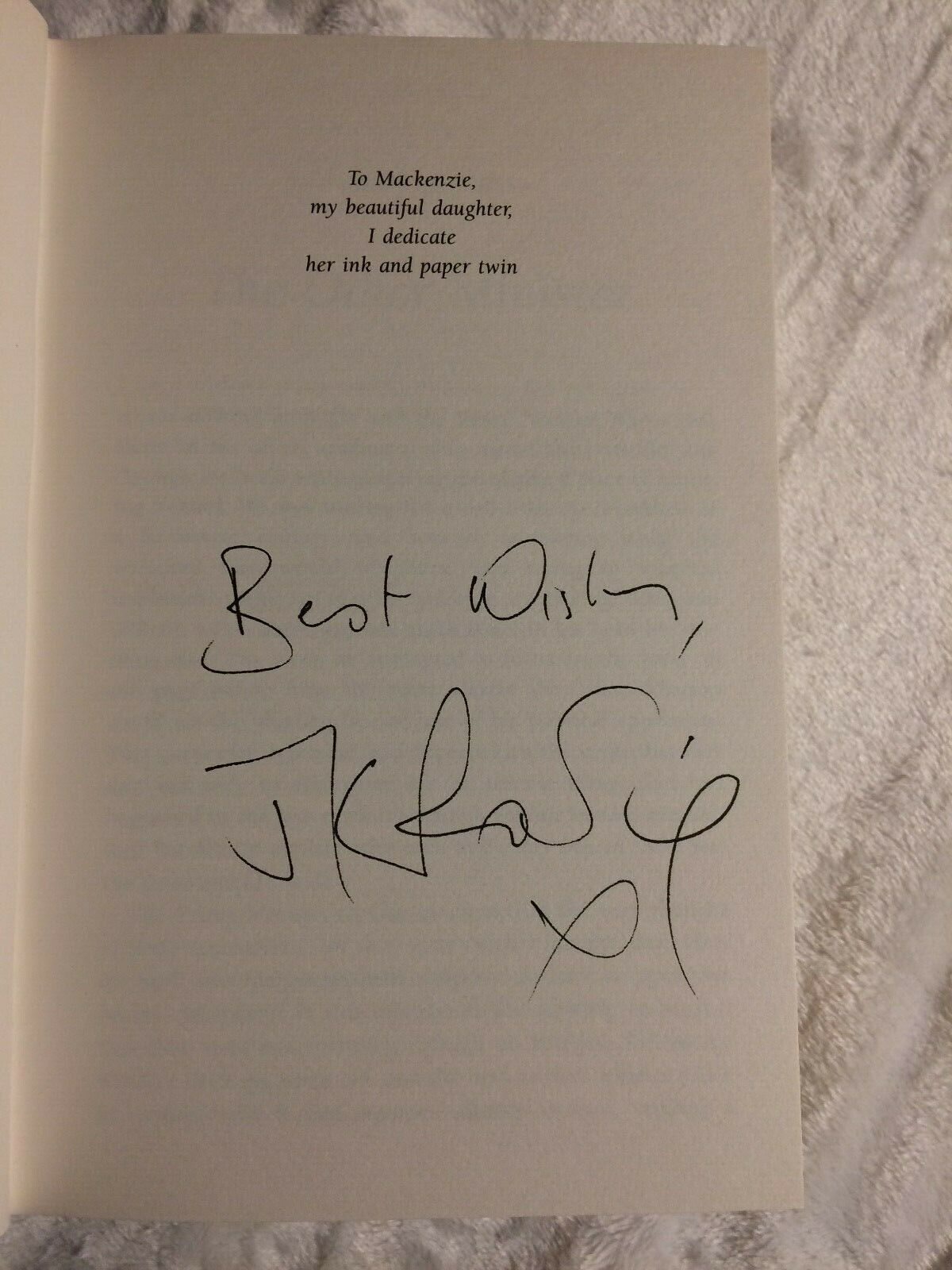 J.K. Rowling signature forgery found inside a Harry Potter and the Half-Blood Prince on eBay. Sold by PlantCollections72