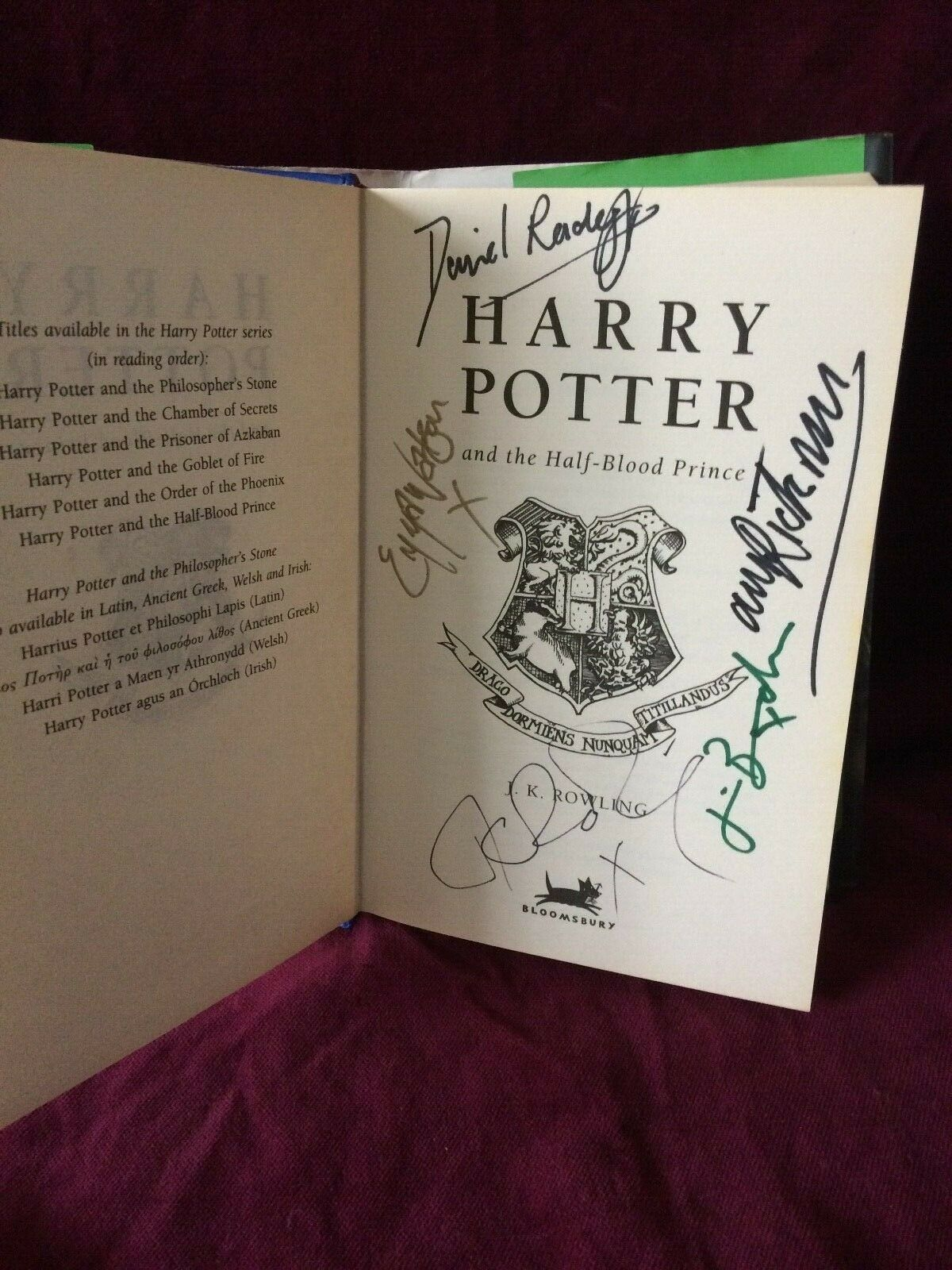 J.K. Rowling and cast signature forgeries found inside a Harry Potter and the Half-Blood Prince on eBay. Sold by Dollpainte-0 for 270 GBP.