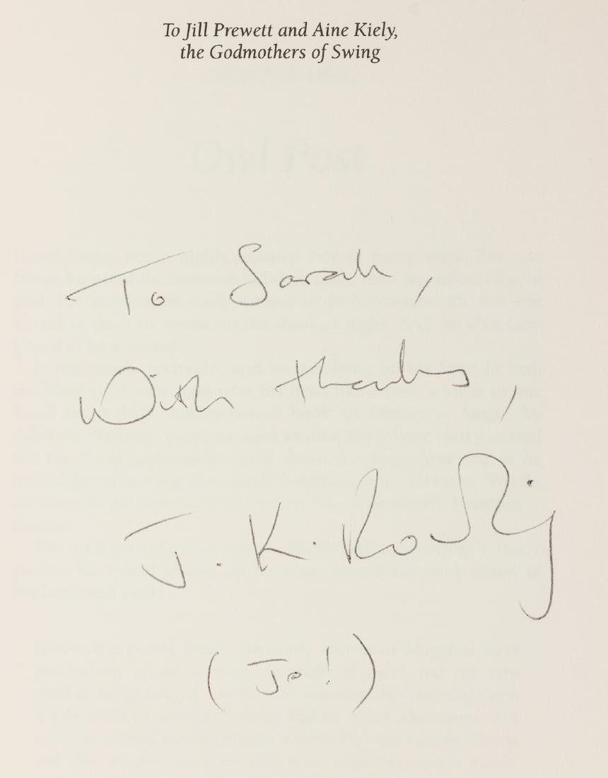 JK Rowling signature forgery found on LiveAuctioneers.com inside a Deluxe Edition of Harry Potter and the Prisoner of Azkaban