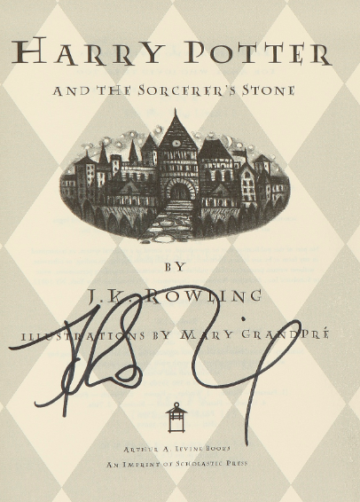 JK Rowling Signature Forgery found inside a Harry Potter and the Sorcerer's Stone. Sold at Sotheby's Auction House for $2,500.