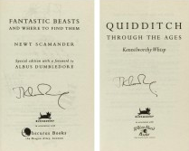 JK Rowling Signature forgeries found in Fantastic Beasts and Quidditch books. Sold at Sotheby's for 1,125 GBP.
